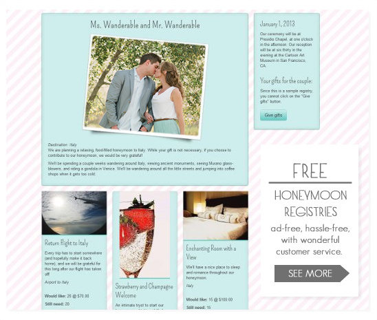 Honeymoon Registry From Wanderable