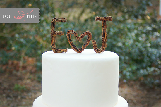 You Need This Rustic Twig Wedding Cake Toppers