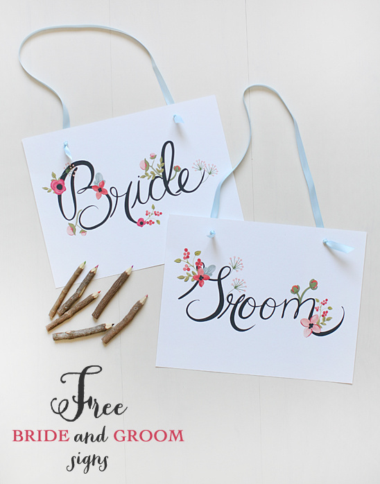 Free Bride and Groom Sign