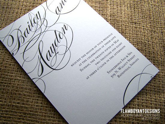 Fancy Script Calligraphy Wedding Invitations -Flamboyant Designs