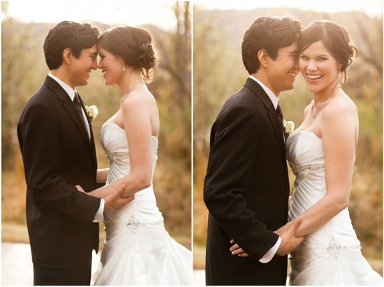 Photo of bride and groom in classic black and white wedding