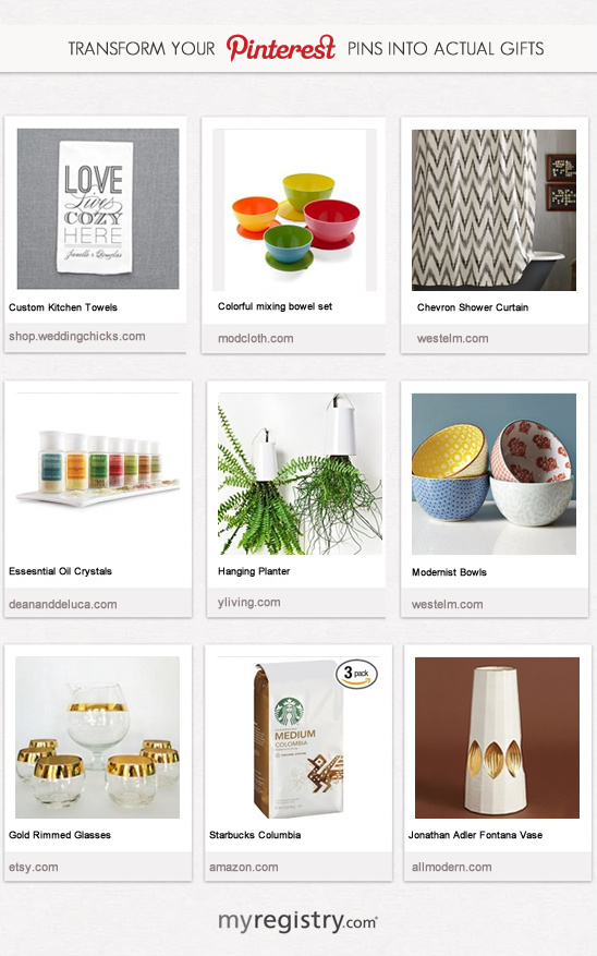Transform Your Pins Into Gifts Via MyRegistry.com