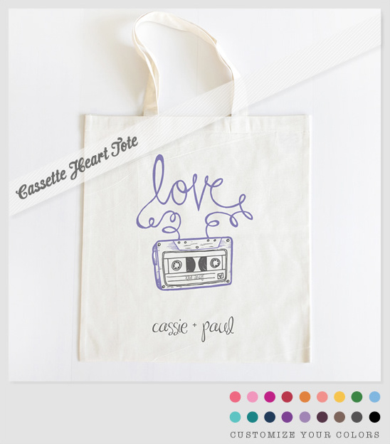 Personalized Wedding Gifts | Cassette Heart Tote