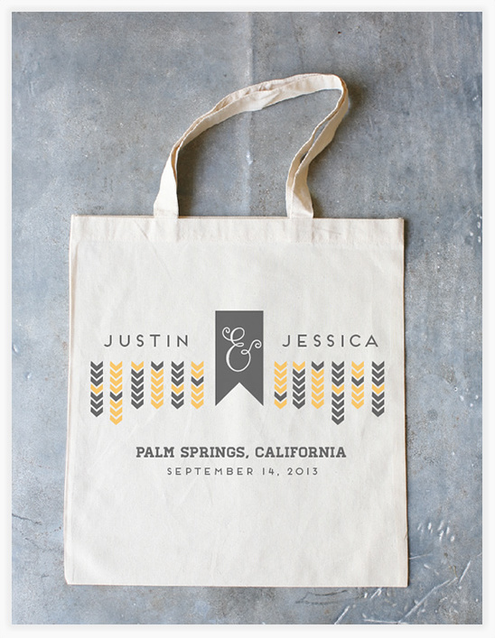 Custom Love And Arrows Wedding Tote On Sale