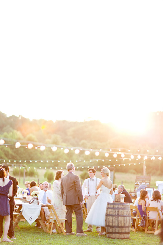 Diy southern backyard wedding for Diy wedding reception lighting