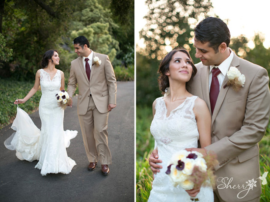 Romantic Arboretum + Botanical Garden Wedding: Tan and Maroon