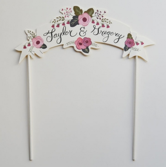 Custom Heart Wedding Print + Free Cake Topper