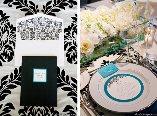 Black and Blue Damask Wedding