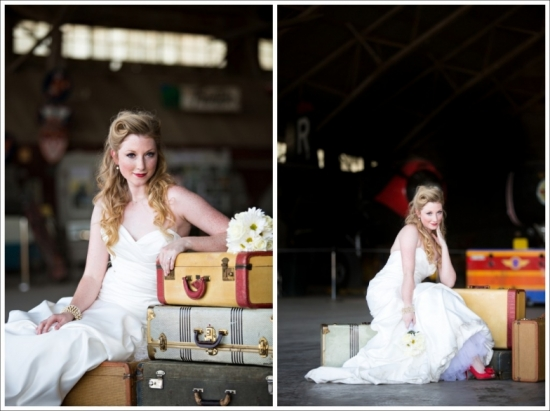 Bridal Shoot at the Vintage Flying Museum Fort Worth Texas
