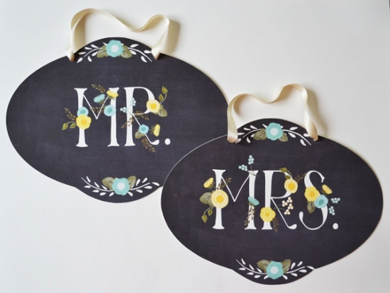 Aqua and Yellow Mr. and Mrs. Wedding Signs