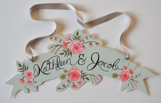 Peach and Mint Wedding Banner