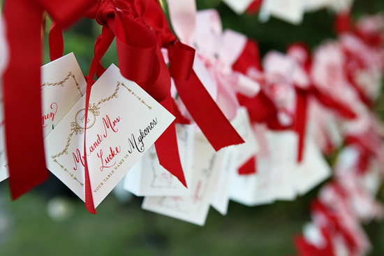 Red and Pink Ribbon Escort Cards Display