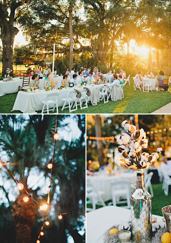 Aqua And Yellow Backyard Wedding