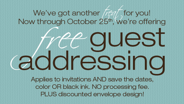 Free Guest Addressing/Printed Calligraphy from The Green Kangaroo