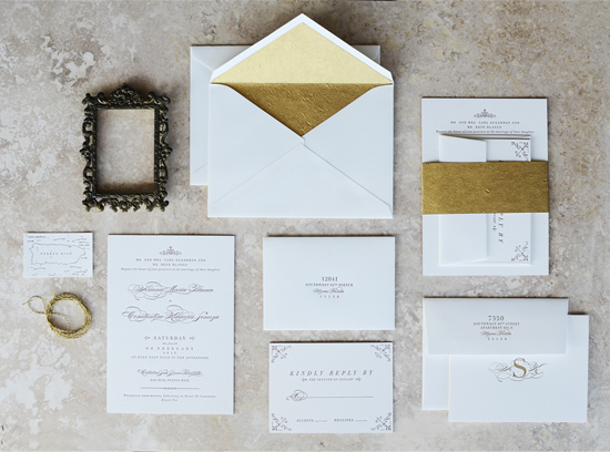 elegant gold edge painted wedding invitations - Wedding Invitations Gold