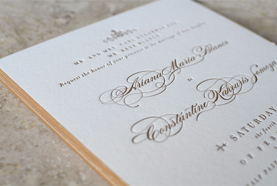 Elegant Gold Edge Painted Wedding Invitations