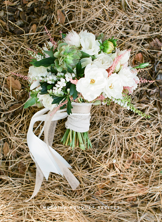 White, Pink And Green Wedding Bouquet
