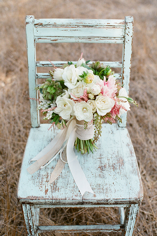 White Pink And Green Wedding Bouquet