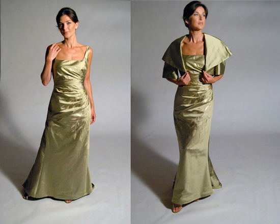 Gold Gown w/wrap - Eugenia couture