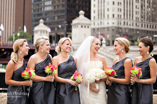 Modern Tangerine Downtown Chicago Wedding
