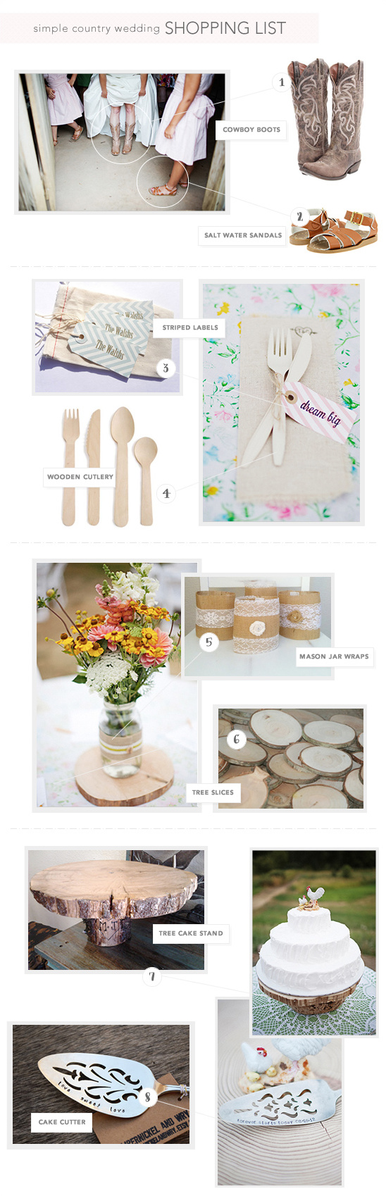 Shopping List For A Simple Country Wedding