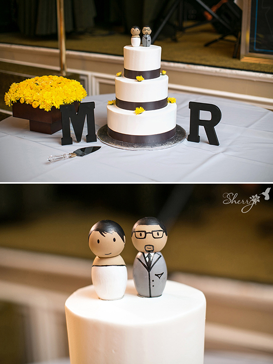 wedding cake modern yellow