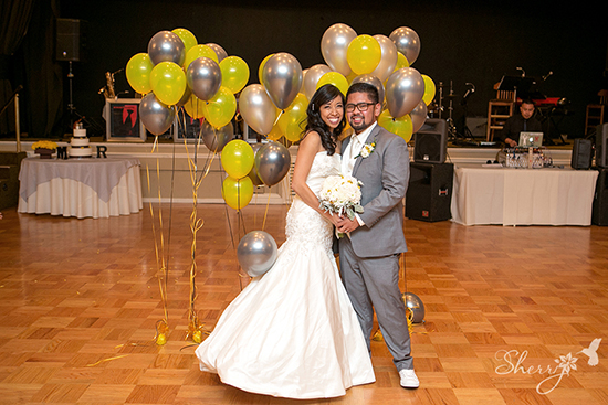 wedding balloons yellow grey