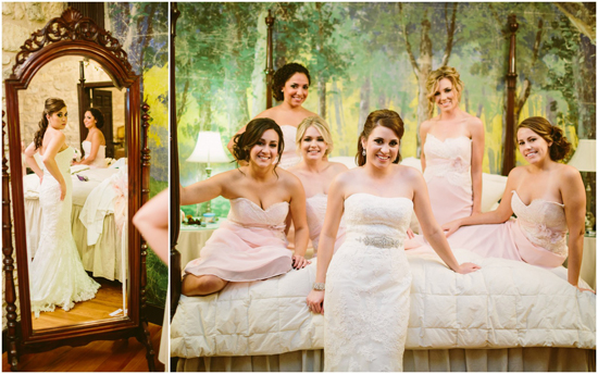 Bride and bridesmaids getting ready for their wedding at the Hoffman Haus in Fredericksburg.