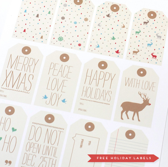 Free Holiday Labels From Love Vs. Design