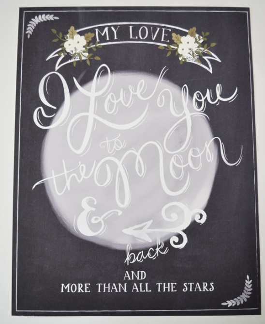 I Love You to the Moon Wedding Print