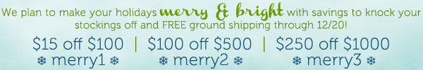 Up to 25% Off + FREE Ground Shipping + Holiday Giveaways!