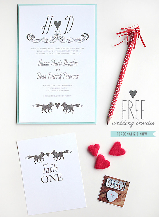 Free Fox Wedding Invites & Day Of Stationery