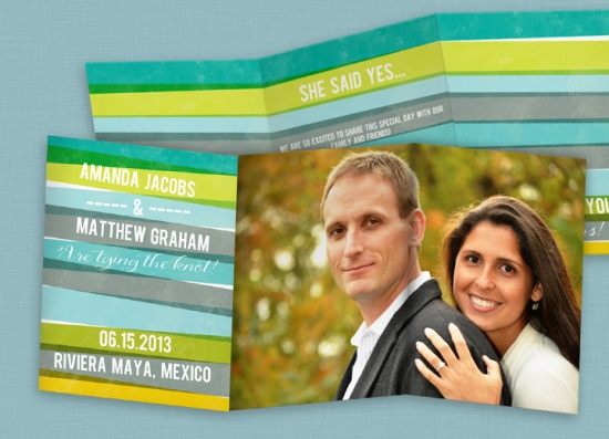 Save the Date Cards -- Engaging Stripes in Blue