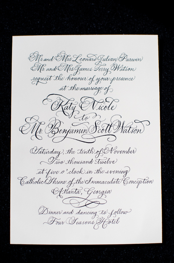Calligraphy on Wedding Invitation