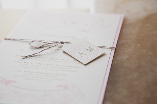 Elegant Outdoor Wedding, Ivory and Blush Invitation