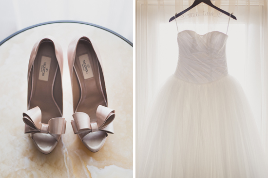 Elegant Ivory and Blush Tones Gown and Valentino Shoes