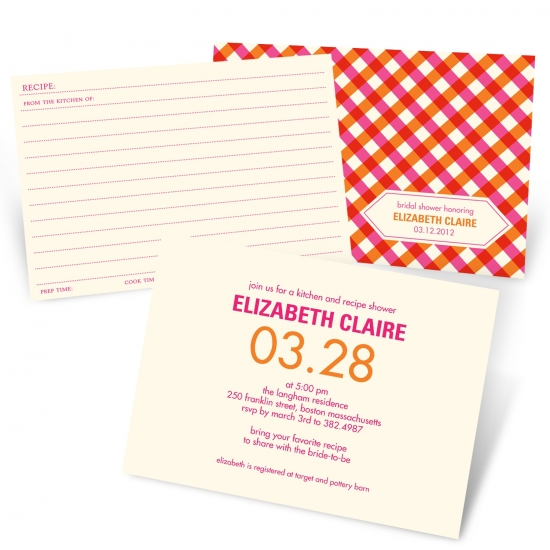 Recipe Bridal Shower Invitations -- Ingredients for Love