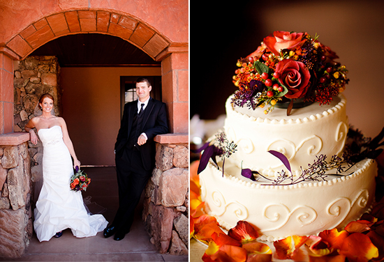 Photo of purple and orange autumn wedding at Gateway Canyons