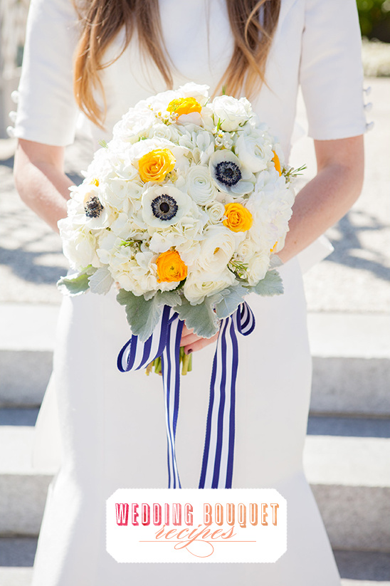 White Anemones and Yellow Rose Bouquet