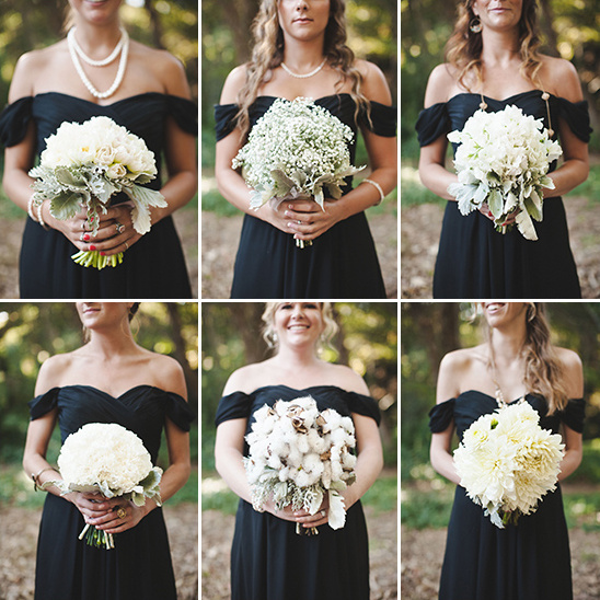 black bridesmaid dresses and white bouquets