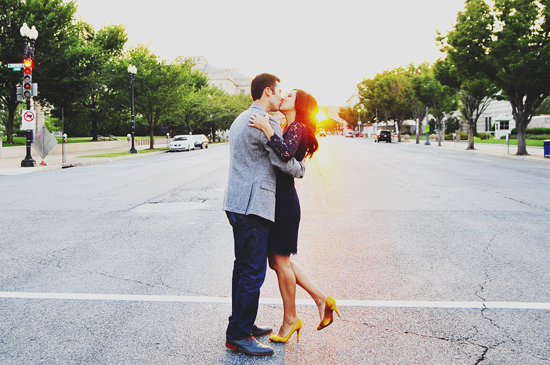 modern engagement session at the John F. Kennedy center
