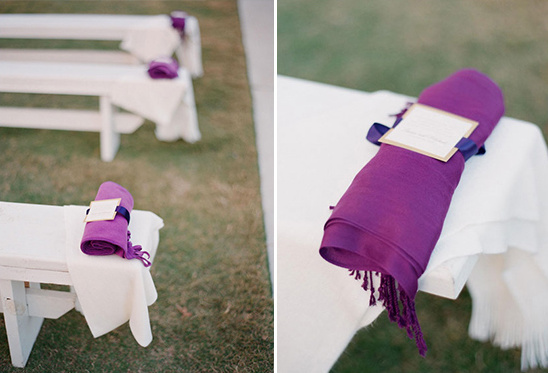 place blankets on pews at wedding ceremony