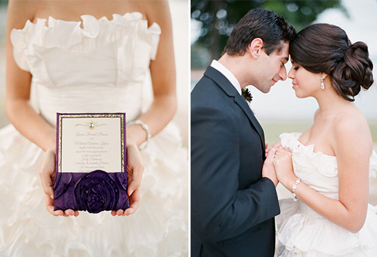 romantic purple wedding invite
