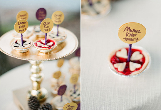 mini pies used for escort cards