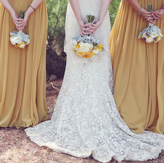 yellow bridesmaid dresses and bouquets