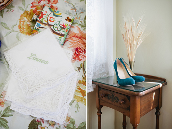green wedding shoes and vintage hankies