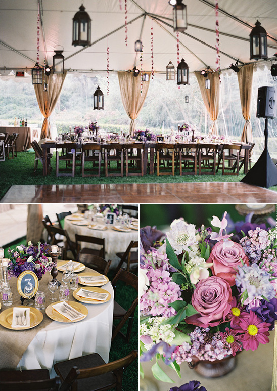 gold and purple wedding decor ideas