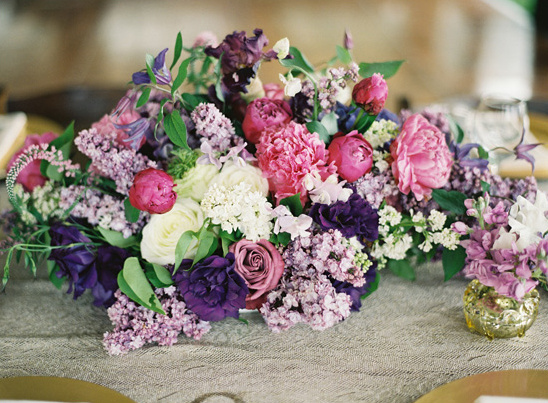 pink and purple wedding floral arrangement