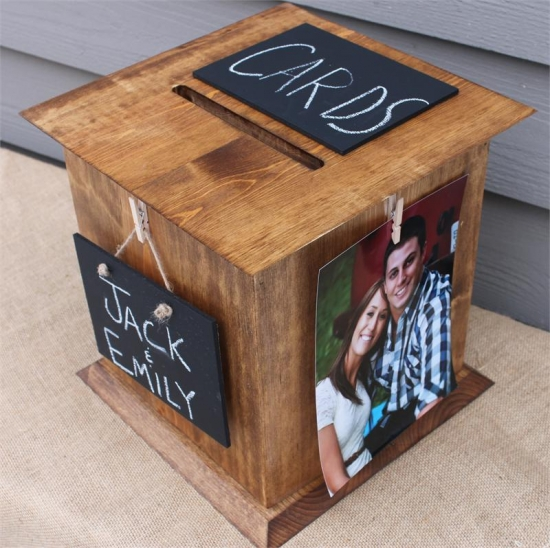 Rustic Brown Wedding Card Box