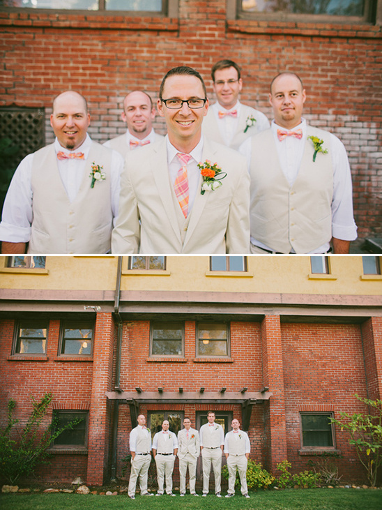 cream and peach groomsman outfits